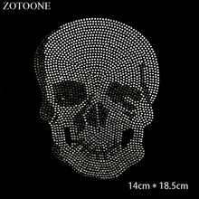 ZOTOONE Clear Crystals HotFix Flatback Rhinestones Punk Skull Applique Strass Rhinestone Stickers for Clothes Decoration E