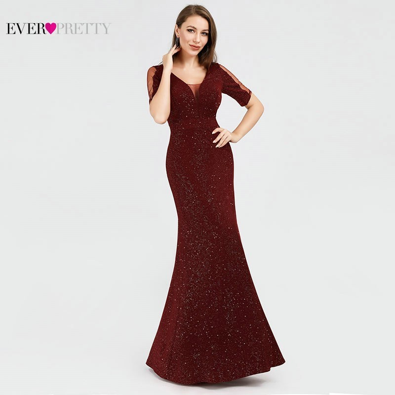 Sequined Knitting   Evening     Dresses   Long Ever Pretty EP07925BD Mermaid Short Sleeve V-Neck Elegant Burgundy Formal Party Gowns