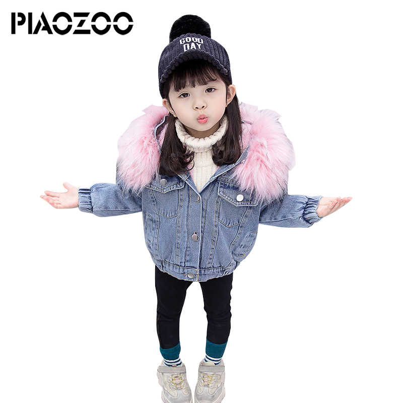 14a238888 Kids jean coat little girls winter clothing toddler girls fur hooded coat  warm thick parkas top