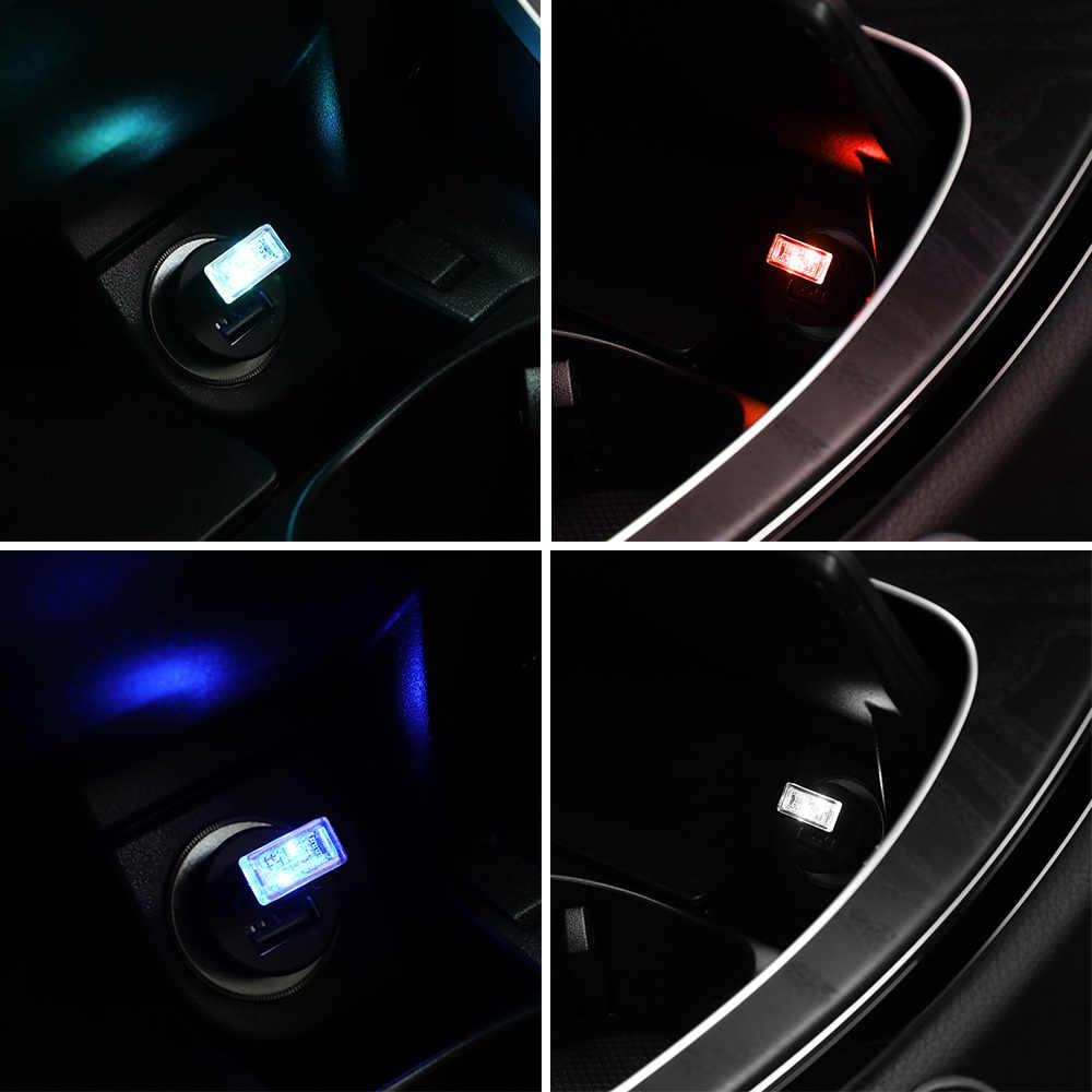 Car LED Atmosphere Light USB Socket Interior Decorative Lamp Emergency Lighting Universal For PC USB Plug Play luz usb coche