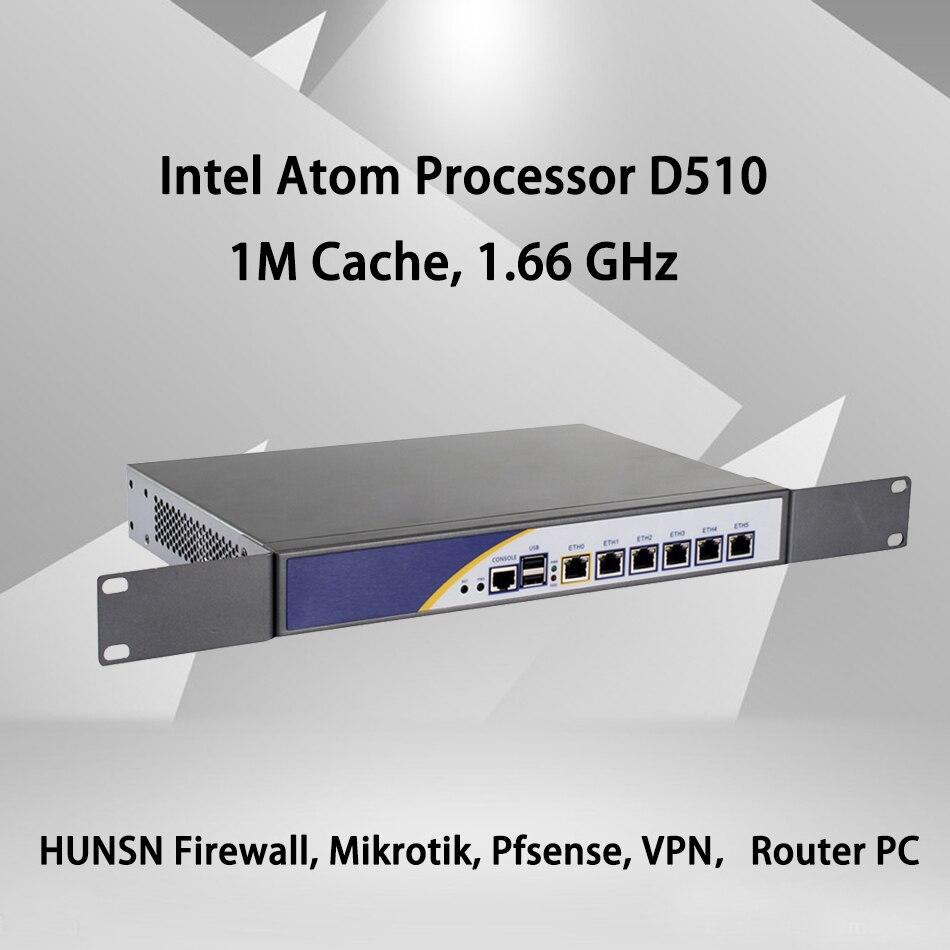 Firewall Mikrotik Pfsense VPN Network Security Appliance Router PC Intel Atom D510,[HUNSN SA04R],(6LAN/2USB2.0/1COM/1VGA/FAN)