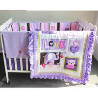 Baby bed set new purple tone baby three dimensional embroidered bedding five piece