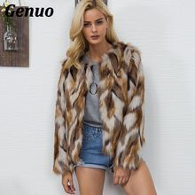 Hairy Fluffy Patchwork Fur Coat Women Winter Thicken Warm Long Sleeve Color Block Outerwear Slim Jacket Genuo Faux Parka Top