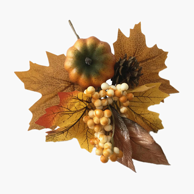 2pcs/lot 2018 New!! 10.6 Inch Artificial Fall Pumpkin Maple Leaf Berry and Pine Cone Pick Free Shipping