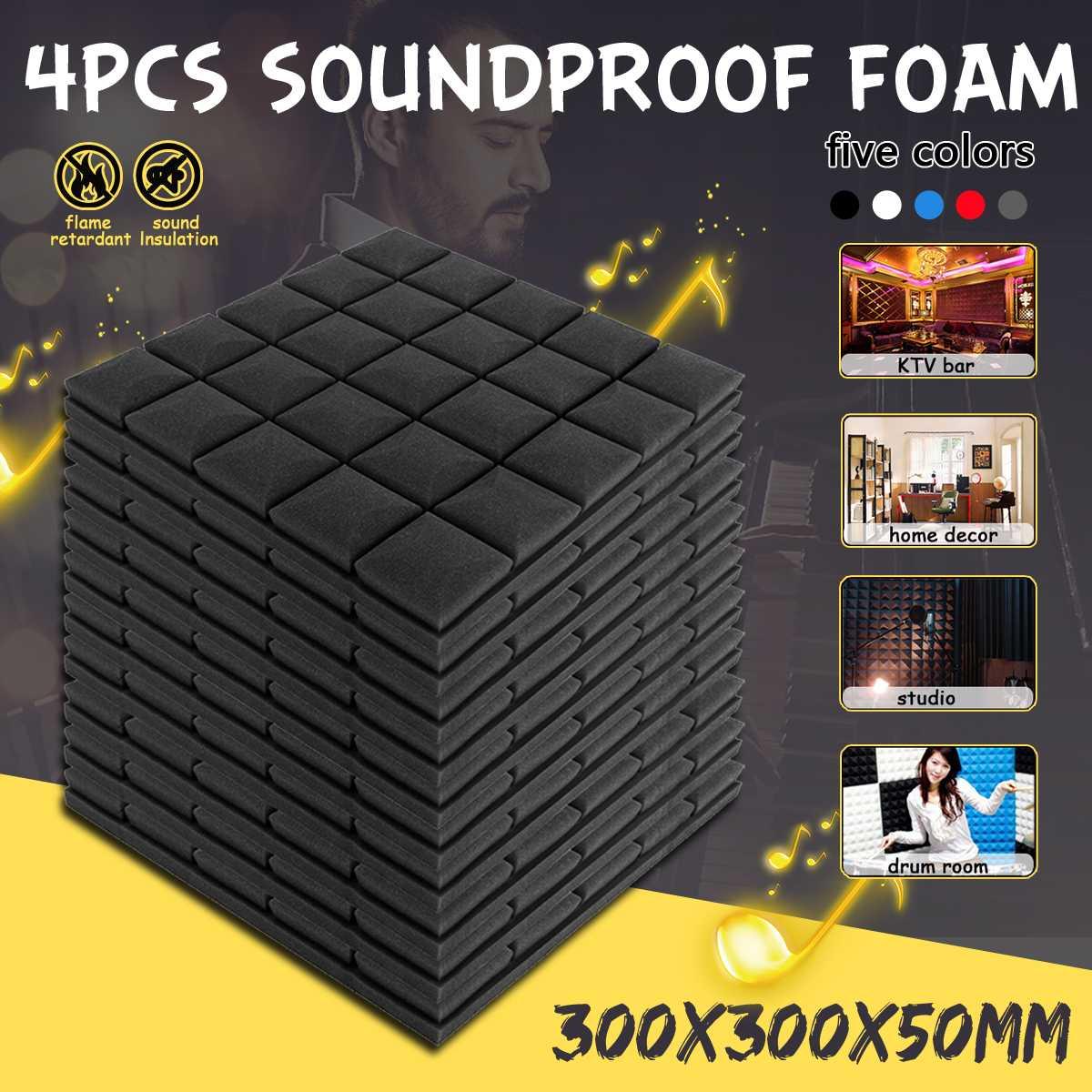 4 Pcs 30x30x5cm Studio Acoustic Soundproof Foam Sound Absorption Treatment Panel Tile Wedge Protective Sponge4 Pcs 30x30x5cm Studio Acoustic Soundproof Foam Sound Absorption Treatment Panel Tile Wedge Protective Sponge