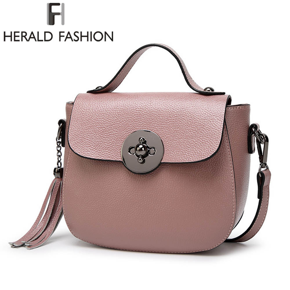 Herald Fashion Women Genuine Leather Handbag With Tassel Female Shoulder Bags Lady's Messenger Bags Casual Brand Tote Shell Bag herald fashion mini velvet embroidery crane shell bag wild strap fashion shoulder bags designer tassel vintage crossbody bag