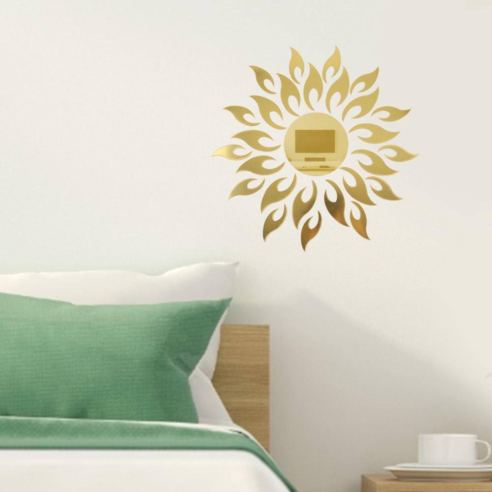 3D Mirror Sun Art Removable Wall Sticker Acrylic Mural Decal Home Room Decor ~