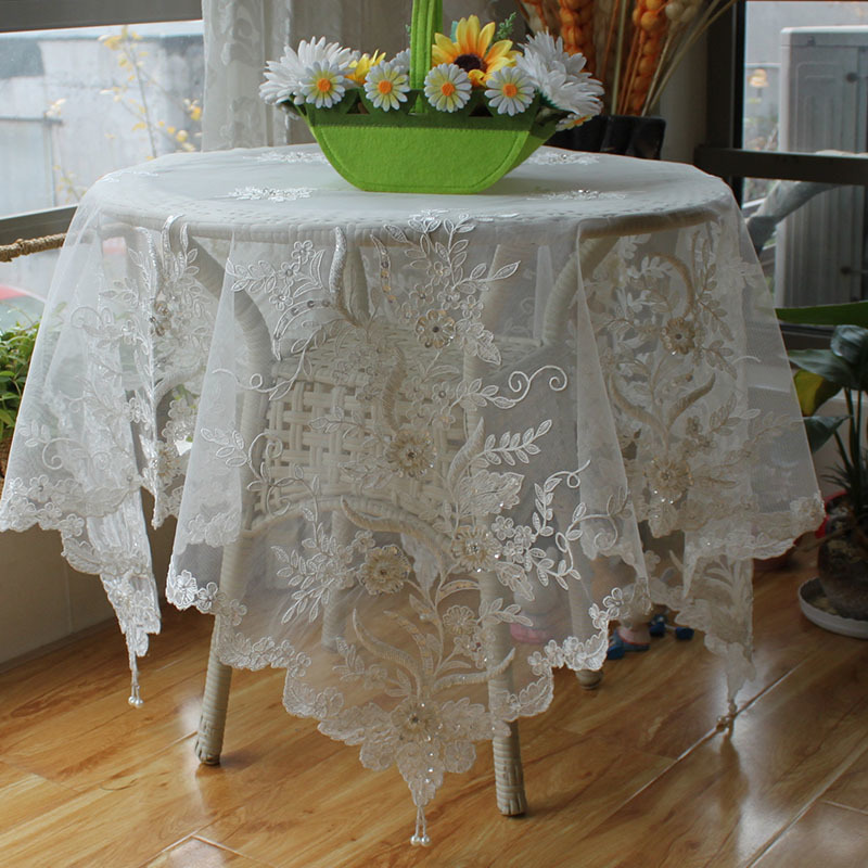 Korean Lace Handmade Beaded Fabric Table Cloth Transparent Luxury Tablecloth Cover Towel Balcony Doilies Wedding Banquet Decor