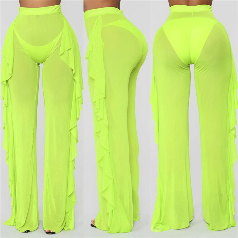 2019 Sexy Women See-through Pants Bikini Cover Up Mesh Ruffle Bottoms Plus Size Loose Long Trousers Beachwear Swimwear Swimsuit
