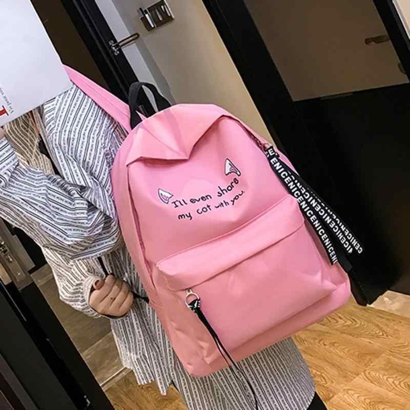3 pçs/set Gato Impressão Mochilas Mulheres Sacos de Viagem Escola Estudante CanvasTeenager Rosa Caneta Preta Sacos de Embreagem mochila feminina mujer
