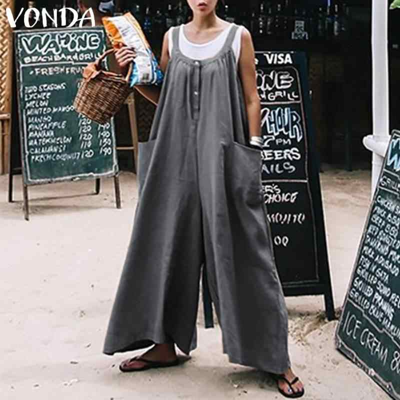 0a664dcf17 VONDA Rompers Women Jumpsuits 2018 Summer Wide Leg Pants Casual Loose O  Neck Pockets Sleeveless Playsuit