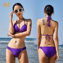 361 Women Sexy String Bikini Set Solid Halter Bikini Triangle Bikini Swimwear Female Pool Bathing Suit Swimming Bandage Swimwear