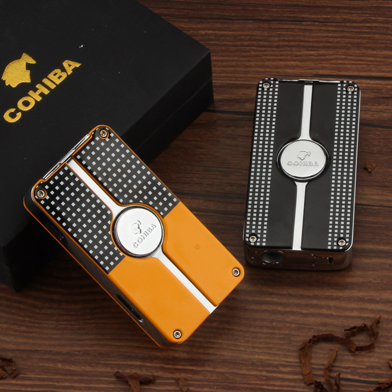 COHIBA Yellow Cigar Lighter W/ Built-in Cigar Punch New Design LC-114