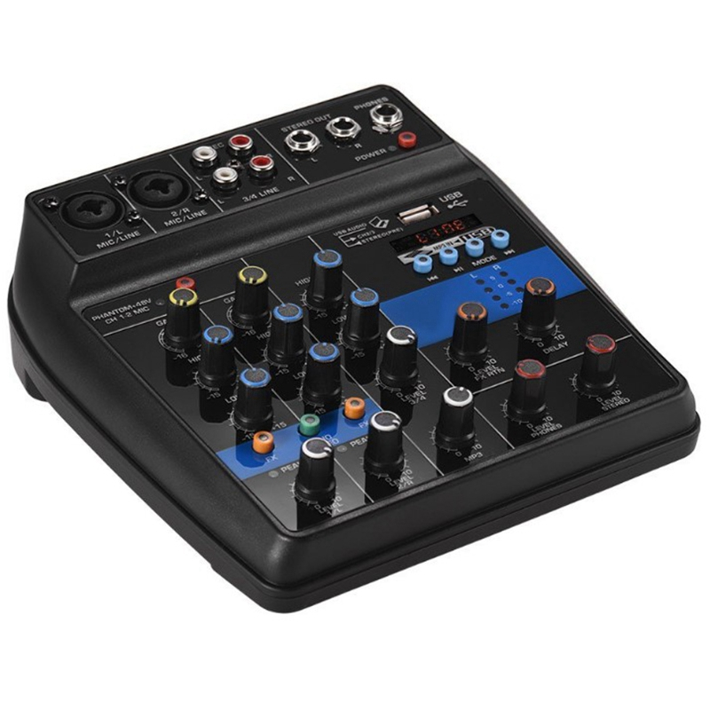 Portable Bluetooth A4 Sound Mixing Console Audio Mixer Record 48V Phantom Power Effects 4 Channels Audio Mixer With Usb(Eu Plu|Microphone Accessories| |  - title=