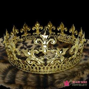 Imperial średniowieczne złote korony dla mężczyzn kobieta cosplay Model pokaż biżuteria do włosów złoty metal król królowa Hairwear Vintage Mo076