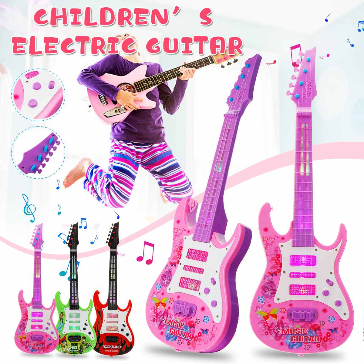 4 Strings Music Electric Guitar Kids Musical Instruments Educational Toys For Children Juguetes As New Year Gift4 Strings Music Electric Guitar Kids Musical Instruments Educational Toys For Children Juguetes As New Year Gift