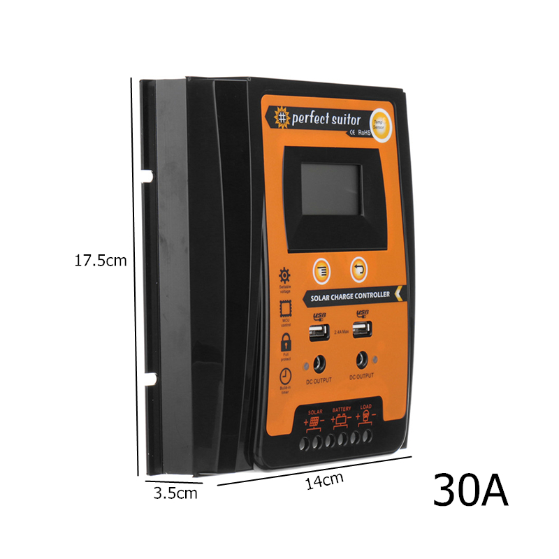 20-70A LCD MPPT Solar Time Controller Panel Battery Charge Regulator Dual USB