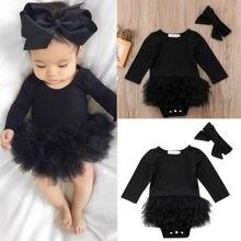 Горячая Распродажа, черный комбинезон с длинными рукавами для новорожденных девочек, боди, платье-пачка, повязка на голову с бантом, Модный комплект одежды