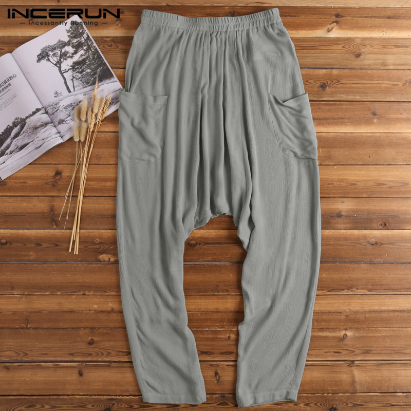 2019 Harem Men Pant Baggy Pants Crotch Summer Trouser Cotton Elastic Waist Wide Legs 5XL Jogger Yoga-pants Pajamas Sweatpant