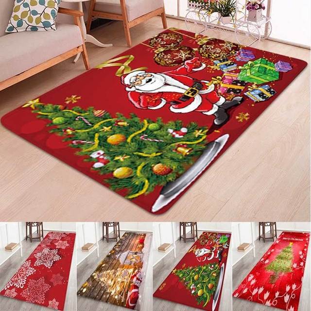 5 Size Christmas Door Mat lannel Carpet Room Anti Slip Kitchen Bathroom Pad Door Area Rug Cushion 2019 Christmas Santa Floor Mat