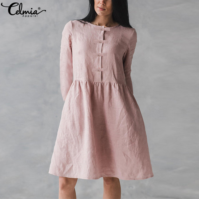 Vestidos Celmia 2018 Autumn Women Long Shirt Pleated Dress Long Sleeve Buttons Pockets Solid Casual Loose Female Party Dresses