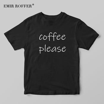 EMIR ROFFER Koffie Gelieve Grappige T-shirt Vrouwen Zwarte Vrouwelijke T-shirt Harajuku Fashion Leuke Zomer Katoenen Basic T-shirt Tee