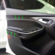 Manilla Interior de microfibra de cuero para puerta de coche, reposabrazos, cubiertas de molduras para Ford Focus 2014 2015 2016 2017 2018