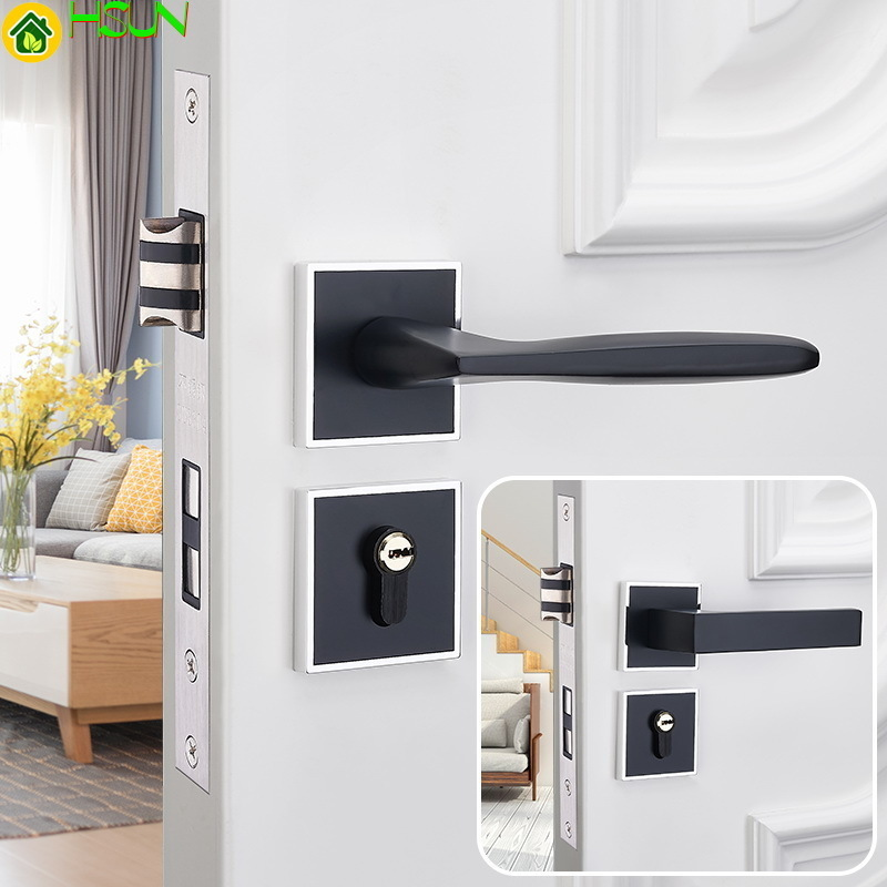 European Black Mute Lock Indoor Bedroom Solid Wood Door Lock Household General Purpose Type Fission Lock Have Concise HandEuropean Black Mute Lock Indoor Bedroom Solid Wood Door Lock Household General Purpose Type Fission Lock Have Concise Hand