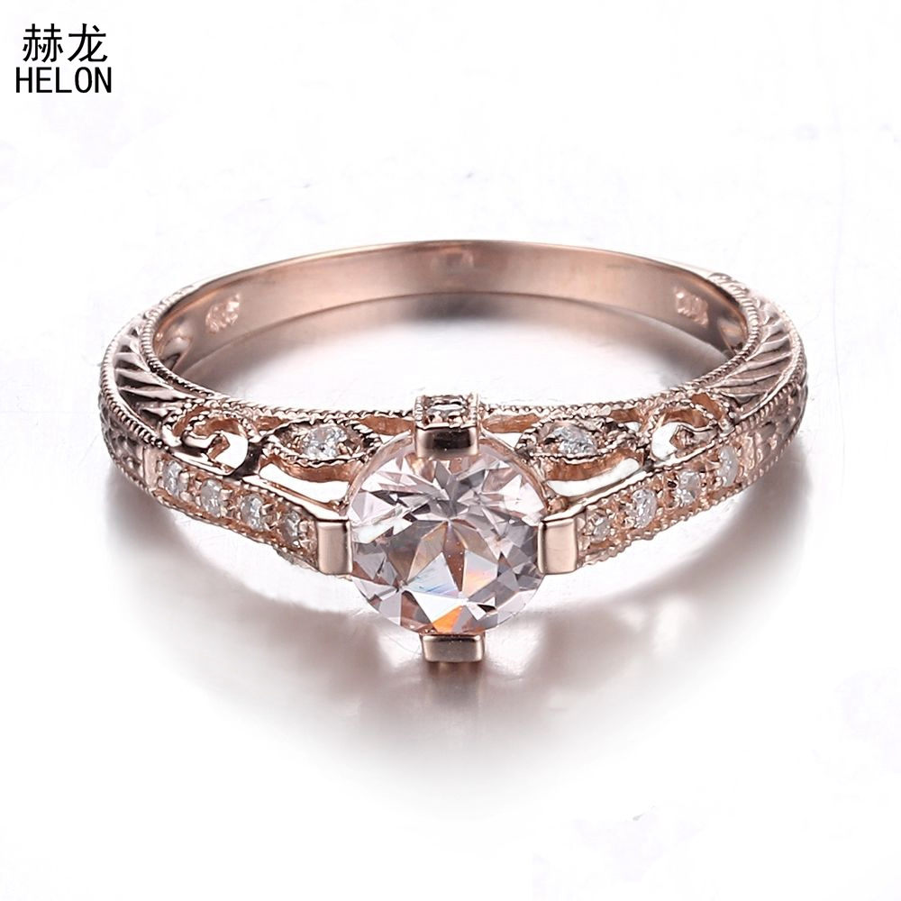 Bague de fiançailles en argent Sterling 925 brillant certifié rond 0.7ct sans défaut Morganite pour les femmes de mariage bijoux Vintage à la mode
