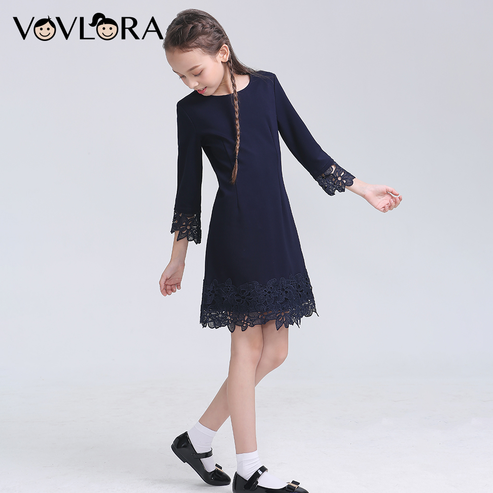 2018 School Girls Dress Lace Formal Kids Dresses Winter Knitted School Uniforms For Girls Hot Sale Size 9 10 11 12 13 14 Years