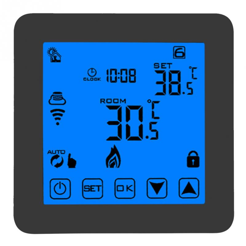 Black Thermostat Smart WIFI Programmable Heating Thermostat Digital LCD Wirless Temperature Controller