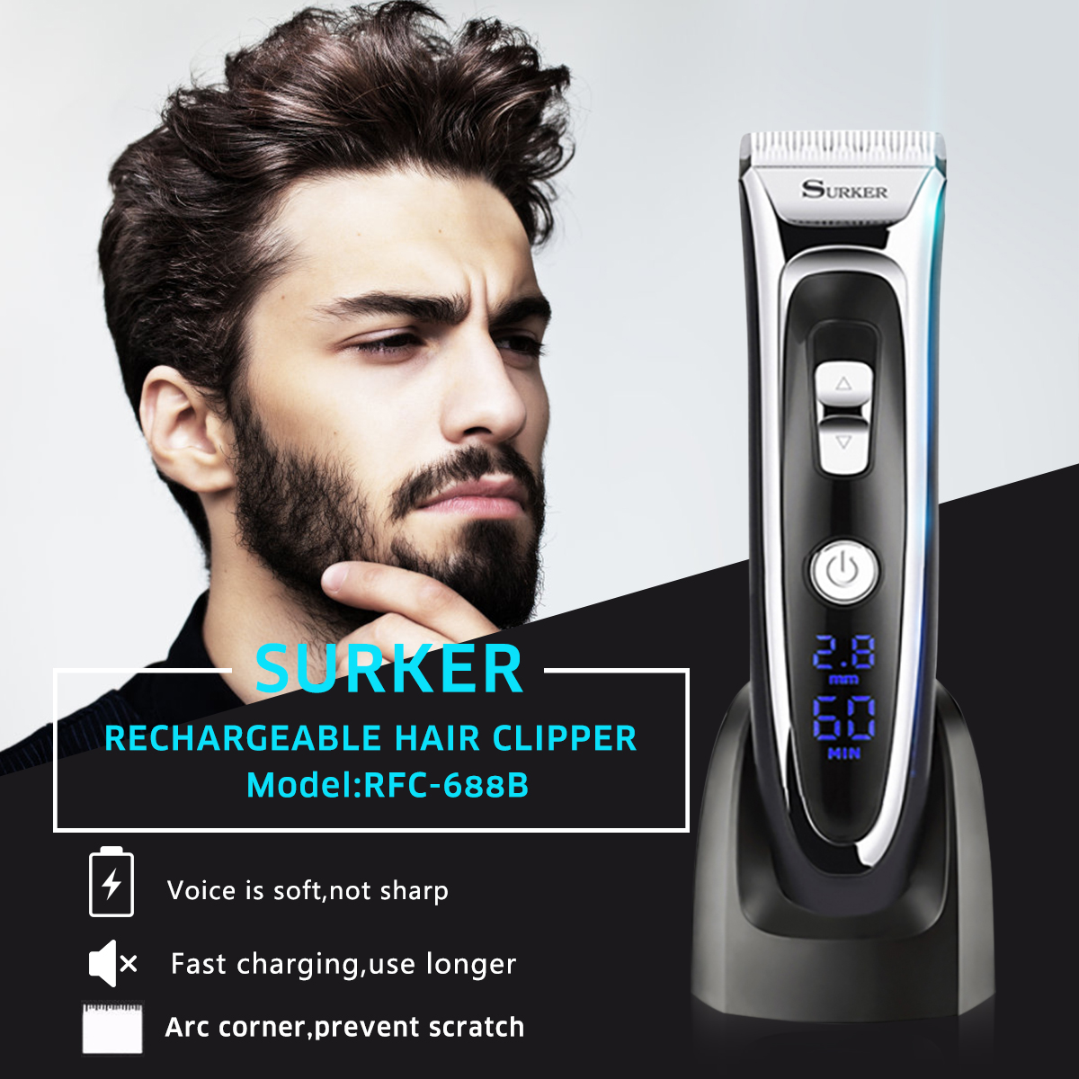 SURKER RFC-688B Rechargeable Hair Clipper Hair Trimmer With LED Display Silent Ceramic Knife Fast Charge Haircut Machine EU Plug