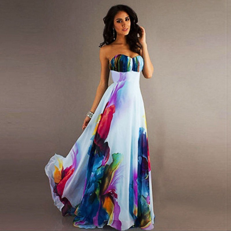 Summer maxi long chiffon dress women 2019 strapless floral print boho elegant dress vestidos de fiesta