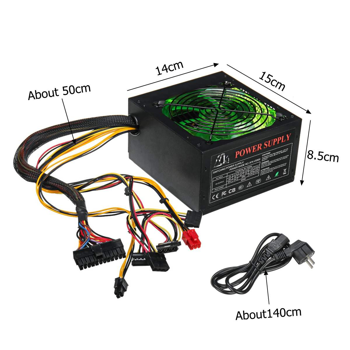 500W Power Supply 120mm LED Fan 24 Pin PCI SATA ATX 12V PC Computer Power Supply For Desktop Gaming