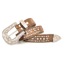 Western Cowgirl Belt rhinestone decoration Big buckle pu faux leather belts  for women(China) 571f6692e009