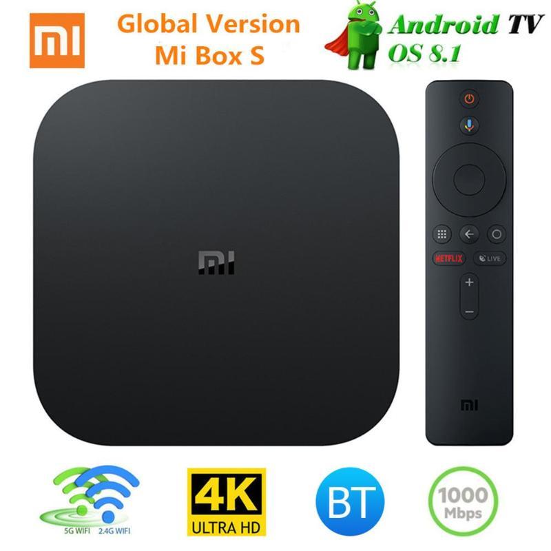 Xiao mi mi TV BOX S Smart 4 K Ultra HD 2G 8G Android 8.1 WIFI Google Cast Netflix lecteur multimédia IPTV décodeur 3 prise EU