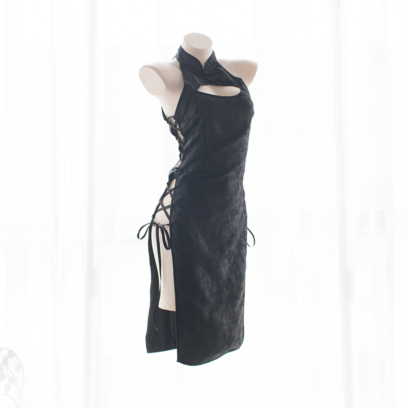 Womens Sexy Cosplay Costume Cheongsam Lingerie Strappy Corset Nightie Sleepwear Underwear Dress White&Black