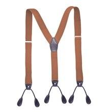 Унисекс винтажные подтяжки мужские подтяжки Регулируемые 6 пуговиц подтяжки эластичные y-образный ремень брюки