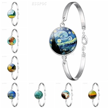 Van Gogh Art Oil Silver Metal Bracelet Men Women Fashion Glass Cabochon Dome Convex Starry Night Jewelry Sunflower Gift