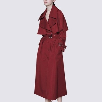 2019 spring windbreaker jacket Women S slim red wine khaki long sleeve tie with autumn casual high quality long coat female p123