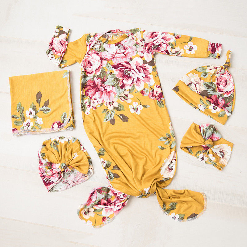 3Pcs Newborn Baby Floral Snuggle Swaddling Wrap Blanket Sleeping Bag Swaddle Baby Swaddling Caps Headband Set
