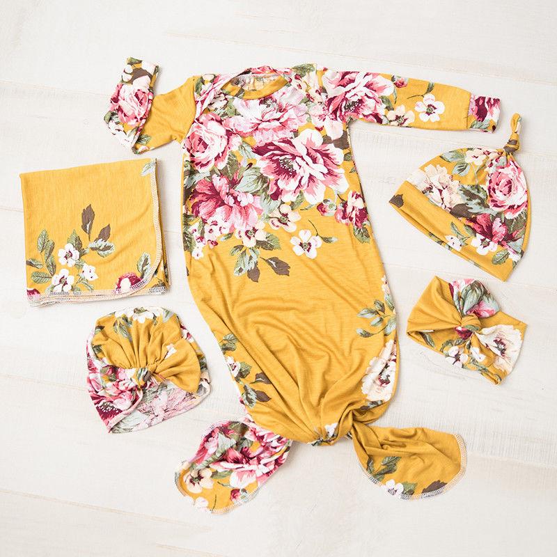 3Pcs Newborn Baby Floral Snuggle Swaddling Wrap Blanket Sleeping Bag Swaddle Baby Swaddling Caps Headband Set