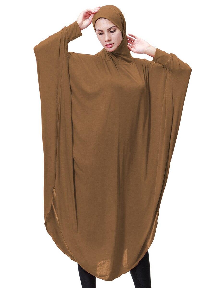 Women Muslim Clothes Headscarf Lady Thobe Gown Hijab Prayer Bat Sleeve Middle East Robe Islamic With Hood Abaya Hijab Dress 9131
