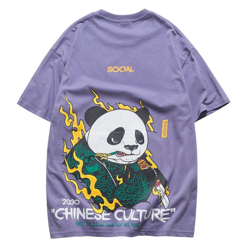 2019 Personality panda Printing Short Sleeve T shirt men Tide Brand Male summer top harajuku