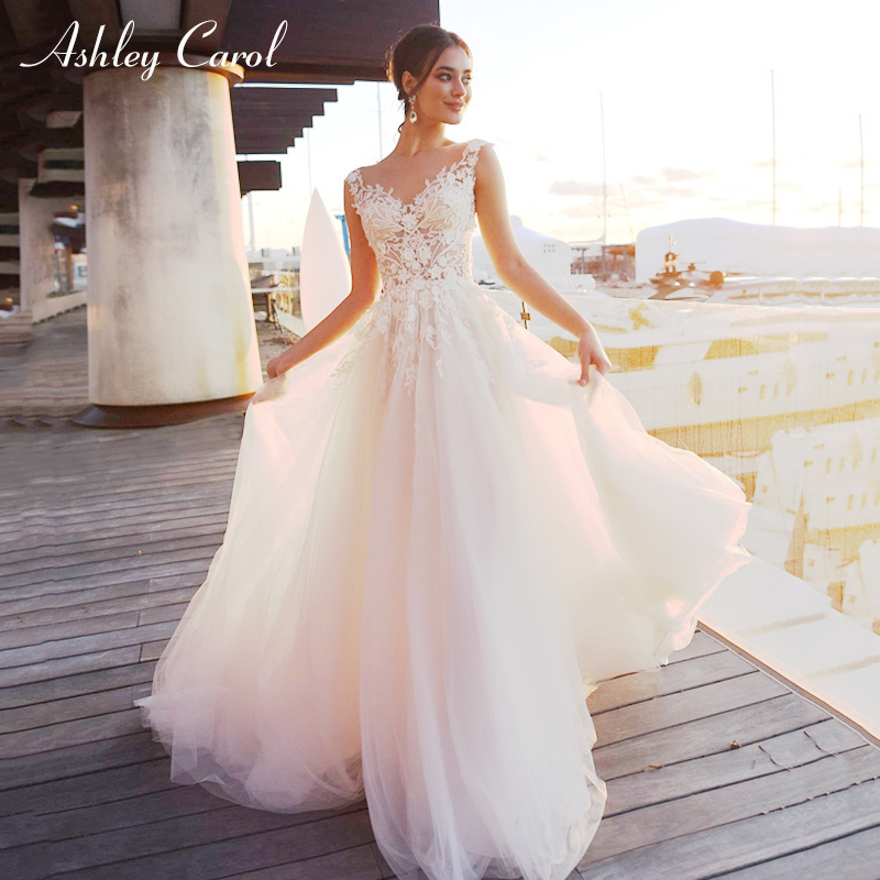 Ashley Carol Sexy V-neck Sleeveless Tulle Beach Wedding Dress Boho Romantic Bride Dresses Fairy Princess Dream Wedding Gowns