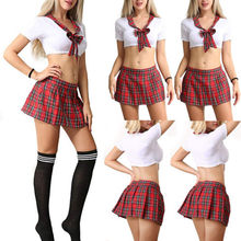 Fancy Costumes 3Pcs Sexy Women's Red Plaid School Girl Uniform Lingerie Student Uniform Cosplay Outfits Costume