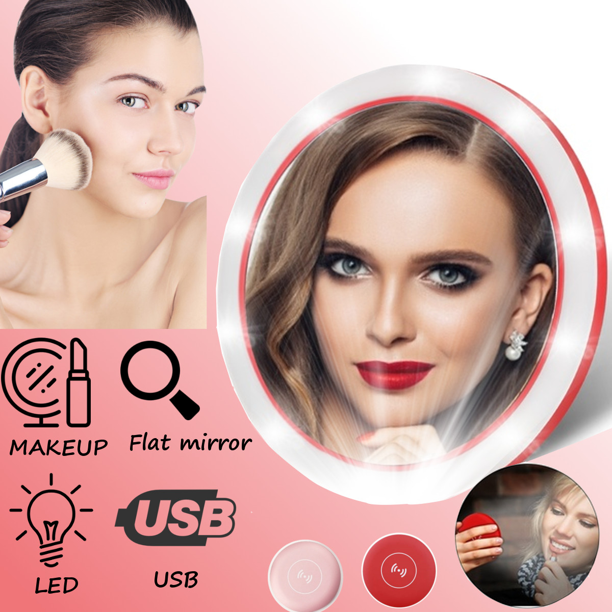 Portable LED Lighted Mini Circular Makeup Mirror Compact Travel Sensing Lighting Cosmetic Mirror Wireless USB Charging