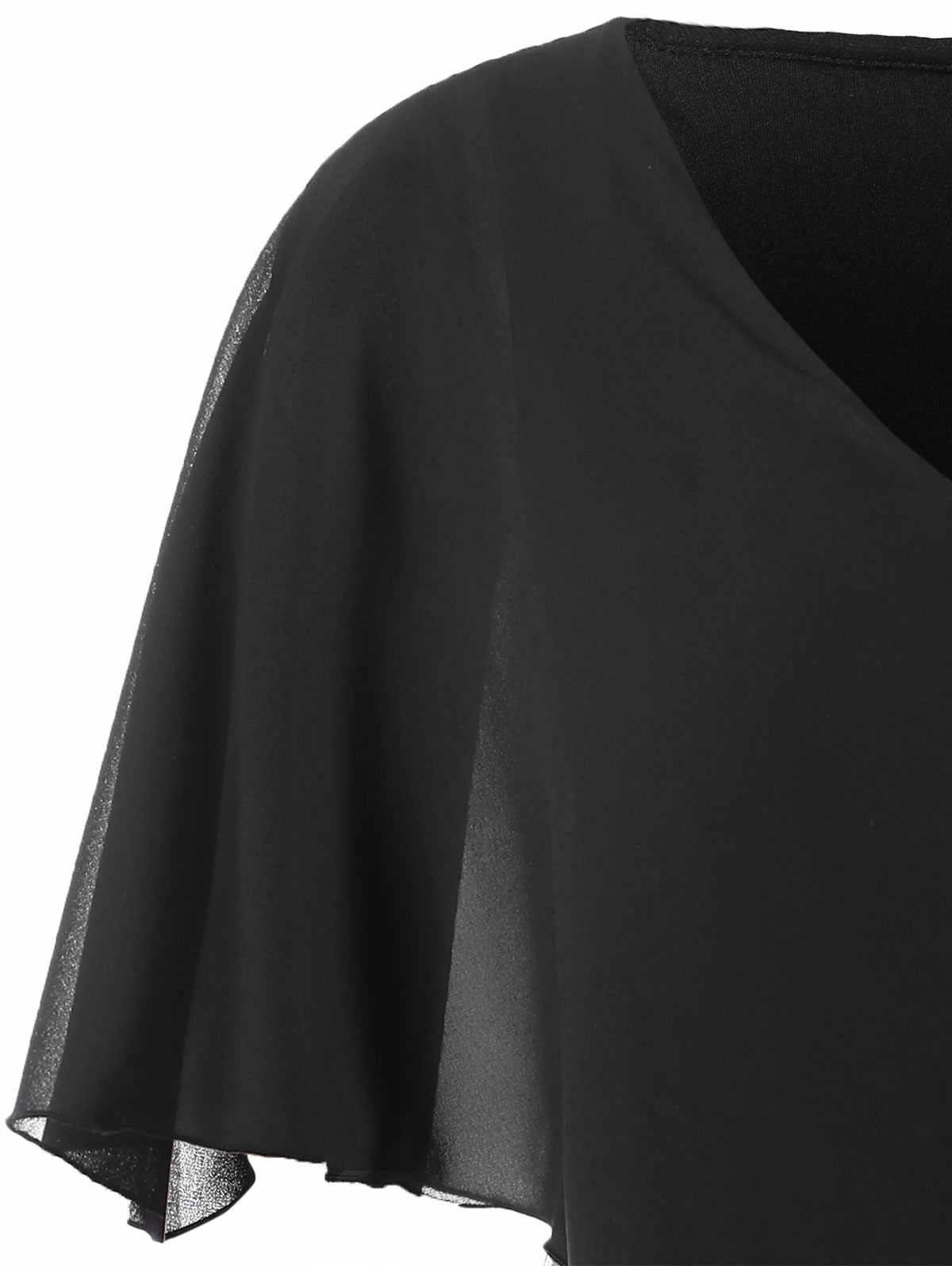 04653f9b74413 ... Wipalo Plus Size Chiffon Overlay Sequin Capelet Dress Women Bodycon  Dress V-Neck Party Dresses