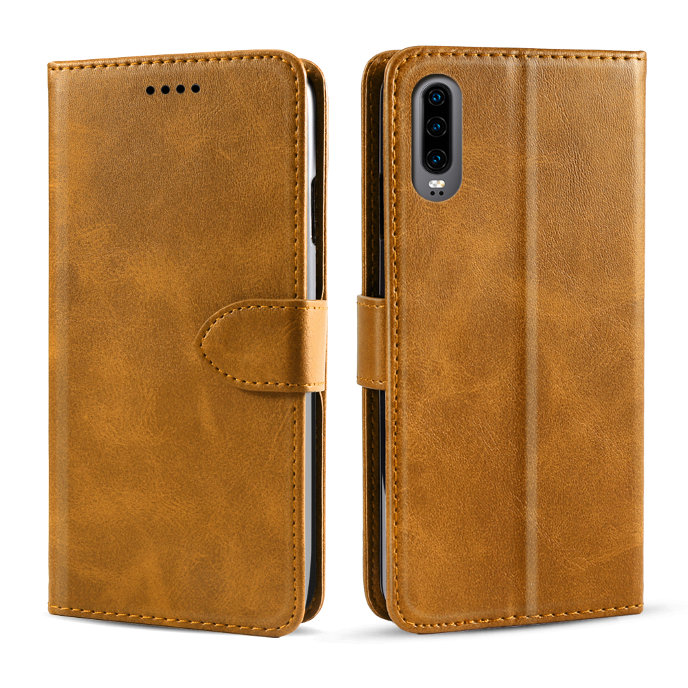 For Huawei P30 P30 Pro P30 Lite Case Retro Calf Grain PU Leather Flip Stand Wallet Case For Huawei P30 Case Card Slot Magnetic in Wallet Cases from Cellphones Telecommunications