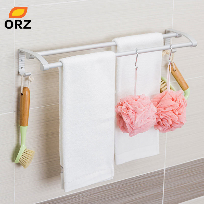 ORZ Double Towel Rack with Hooks Kitchen Holder Wall Mounted Hanger Bar Bathroom Shelf Home Storage Organizer Hook